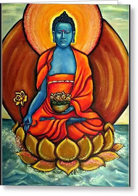 Religious Artwork Mixed Media Greeting Cards - The Healing Buddha Greeting Card by Carmen Cordova