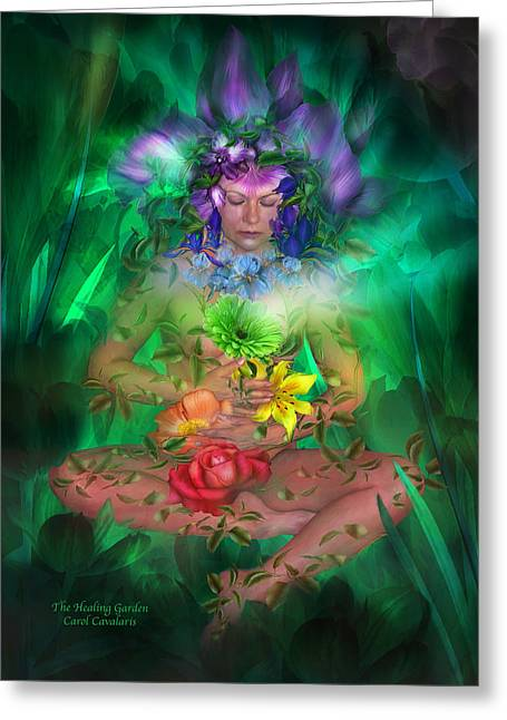 Art Of Carol Cavalaris Greeting Cards - The Healing Garden Greeting Card by Carol Cavalaris