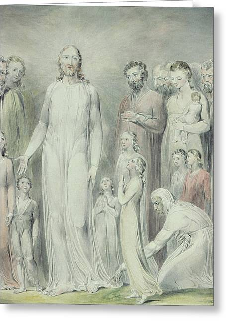 Issues Greeting Cards - The Healing of the Woman with an Issue of Blood Greeting Card by William Blake