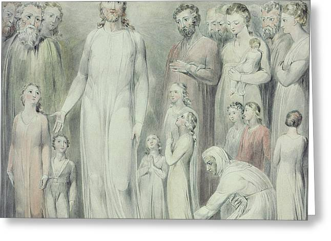 The Healing of the Woman with an Issue of Blood Greeting Card by William Blake