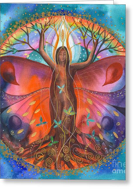 Kate Bedell Greeting Cards - The Healing Tree Greeting Card by Kate Bedell