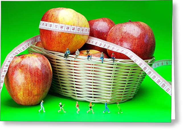 Jogging Greeting Cards - The healthy life II little people on food Greeting Card by Paul Ge