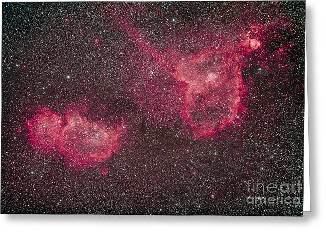 Heart Nebula Greeting Cards - The Heart And Soul Nebula Greeting Card by Alan Dyer