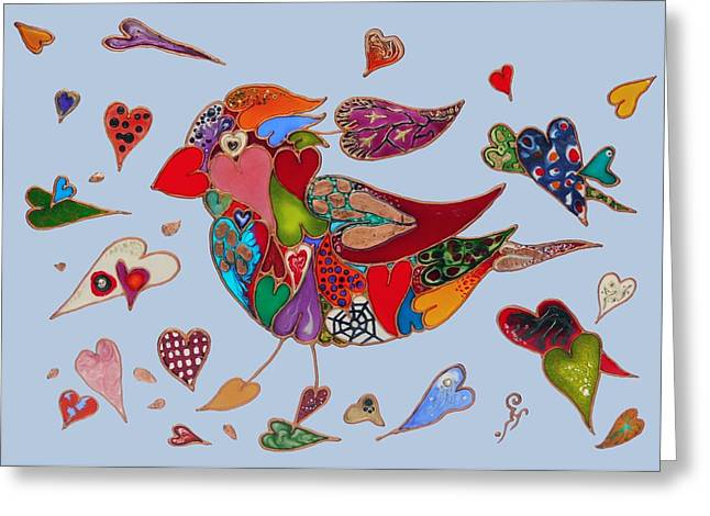 Animal Glass Greeting Cards - The Heart Collector Greeting Card by Virag Lappints