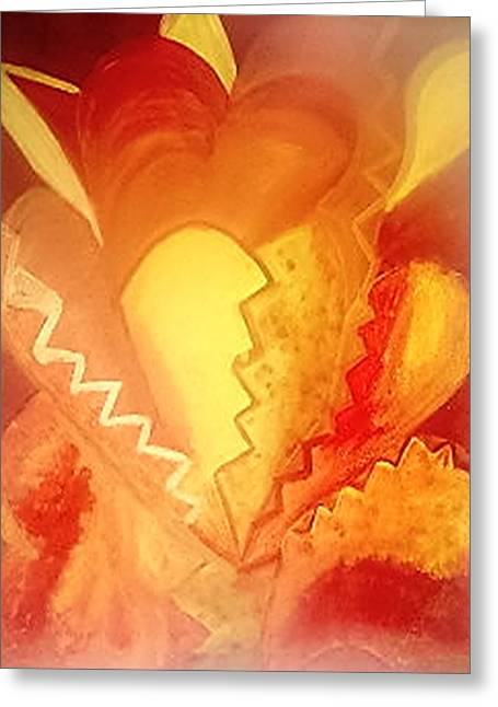 Etc. Paintings Greeting Cards - The Heart Greeting Card by Mary Wismer