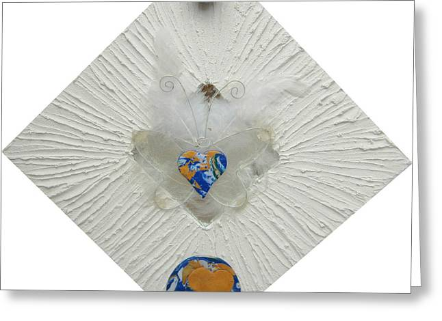 Blues Reliefs Greeting Cards - The heart of goddess mother earth gets wings Greeting Card by Heidi Sieber