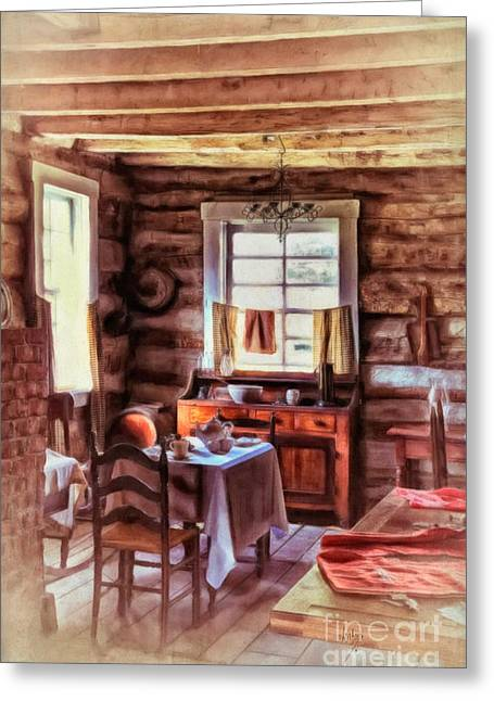 Cabin Window Digital Art Greeting Cards - The Heart Of The Home Greeting Card by Lois Bryan