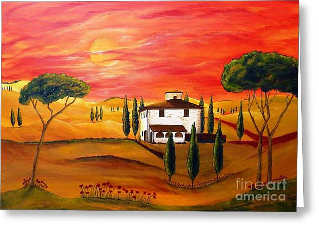 Tuscan Sunset Greeting Cards - The Heat of Tuscany Greeting Card by Christine Huwer