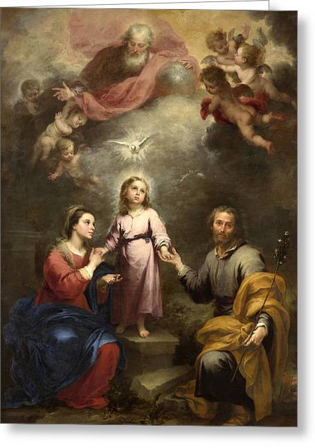 Bartolome Esteban Murillo Greeting Cards - The Heavenly and Earthly Trinities Greeting Card by Bartolome Esteban Murillo