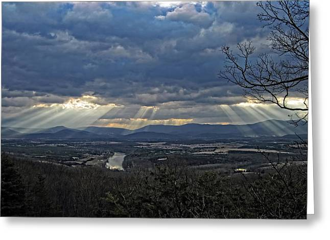 Beaming Greeting Cards - The Heavenly Valley Greeting Card by Lara Ellis