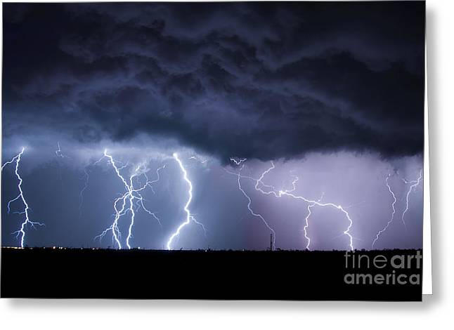 Lightning Photographer Greeting Cards - The Heavens and the Earth Greeting Card by Ryan Smith