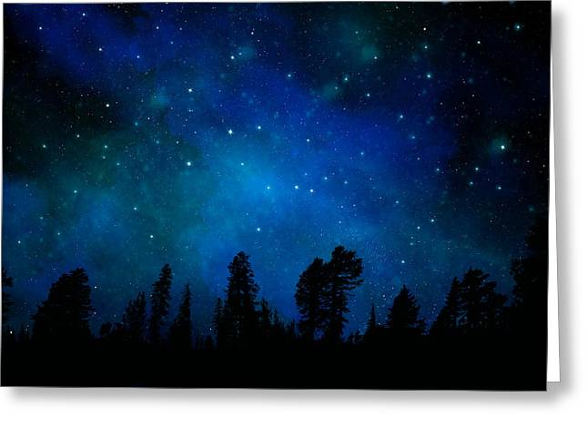 Glow Murals Greeting Cards - The Heavens are Declaring Gods Glory Mural Greeting Card by Frank Wilson