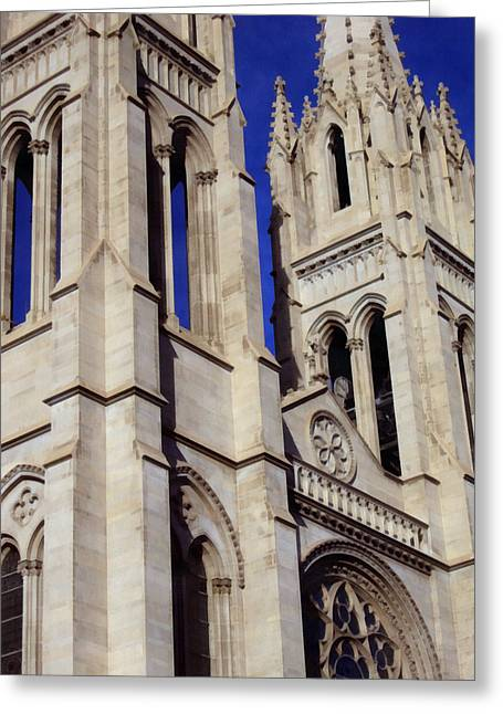 Height Mixed Media Greeting Cards - The Heights Of The Cathedral Basilica of the Immaculate Conception Greeting Card by Angelina Vick