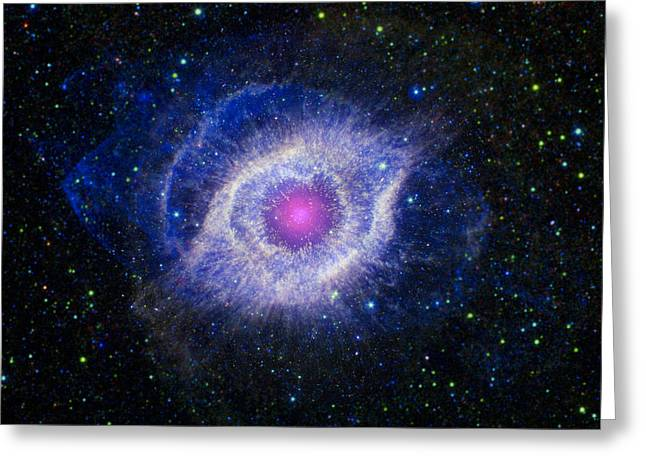 Stellar Greeting Cards - The Helix Nebula Greeting Card by Adam Romanowicz