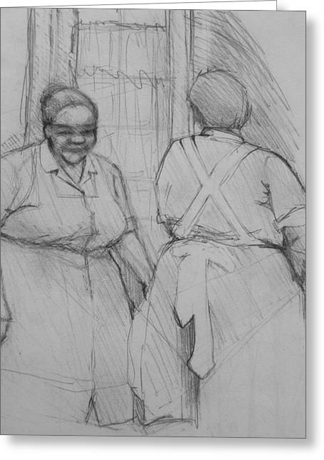 Apron Drawings Greeting Cards - The Help - Housekeepers Of Soniat House Sketch Greeting Card by Jani Freimann
