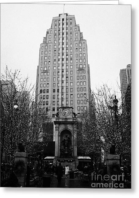 Manhatan Greeting Cards - The Herald Square Building in the rain Herald Square broadway and 6th avenue new york city nyc Greeting Card by Joe Fox