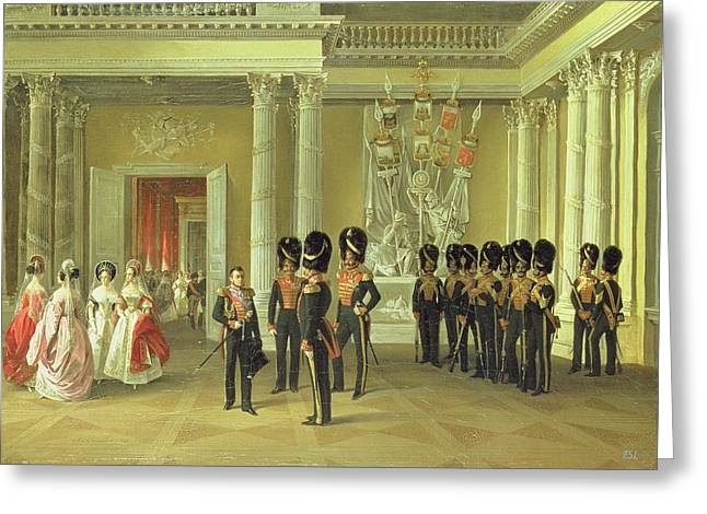 Gathering Photographs Greeting Cards - The Heraldic Hall In The Winter Palace, St Petersburg, 1838 Oil On Canvas Greeting Card by Adolphe Ladurner