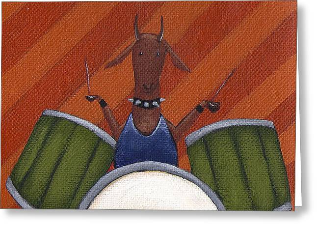 Drum Paintings Greeting Cards - The Herbivores Greeting Card by Christy Beckwith