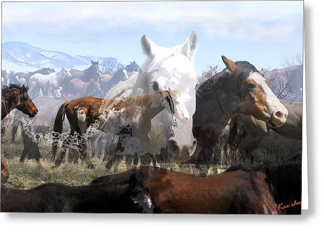 Horse Herd Greeting Cards - The Herd 2 Greeting Card by Kae Cheatham