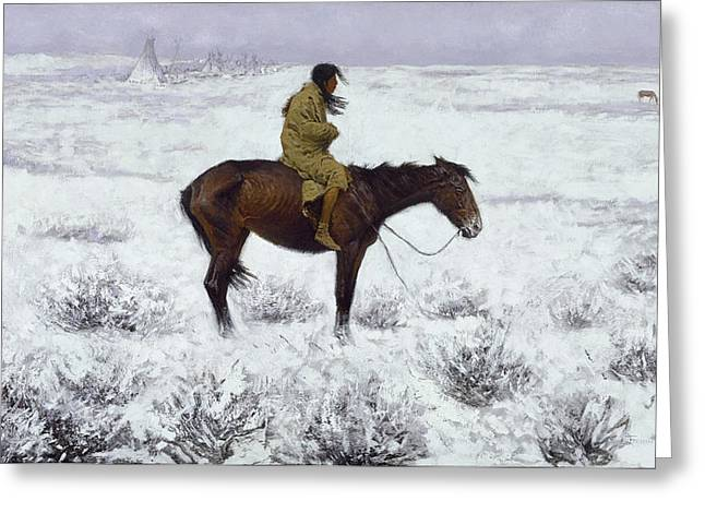 Remington Greeting Cards - The Herd Boy Greeting Card by Frederic Remington