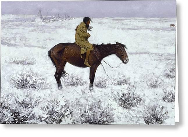 Western Western Art Greeting Cards - The Herd Boy Greeting Card by Fredrick Remington