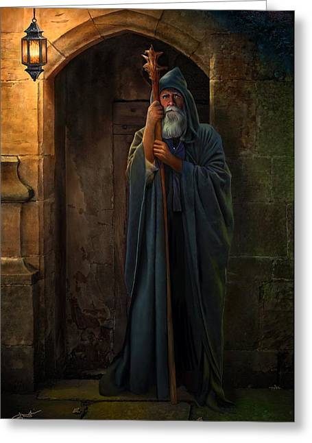 The Seer Greeting Cards - The Hermit Greeting Card by Bob Nolin
