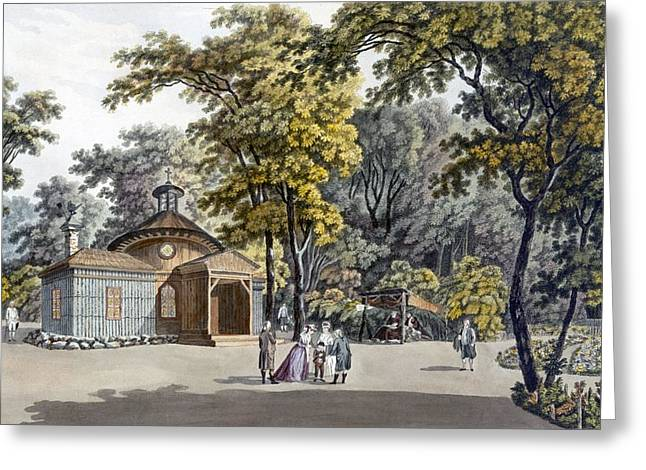 The Hermitage At The Garden Greeting Card by Laurenz Janscha