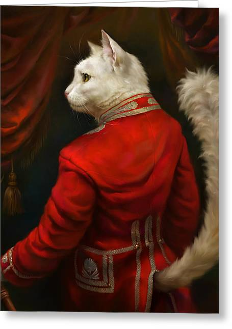 Best Sellers Greeting Cards - The Hermitage Court Chamber Herald Cat Greeting Card by Eldar Zakirov