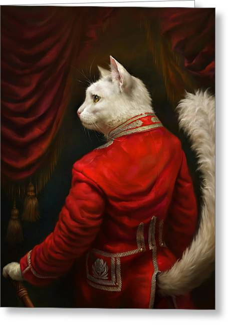 Classic Cats Greeting Cards - The Hermitage Court Chamber Herald Cat Revised Greeting Card by Eldar Zakirov