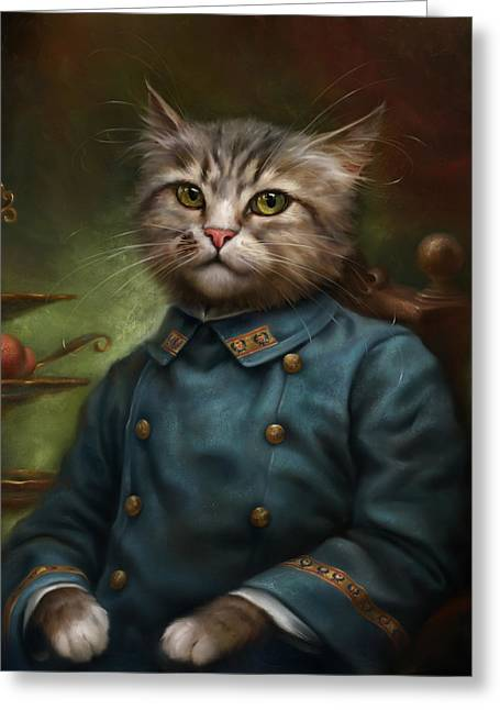 Royal Art Greeting Cards - The Hermitage Court Confectioner Apprentice Cat Greeting Card by Eldar Zakirov