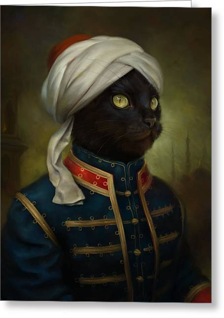 Black Russian Greeting Cards - The Hermitage Court Moor Cat Greeting Card by Eldar Zakirov