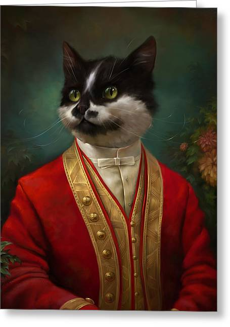 Cat Reflection Greeting Cards - The Hermitage Court waiter cat Greeting Card by Eldar Zakirov
