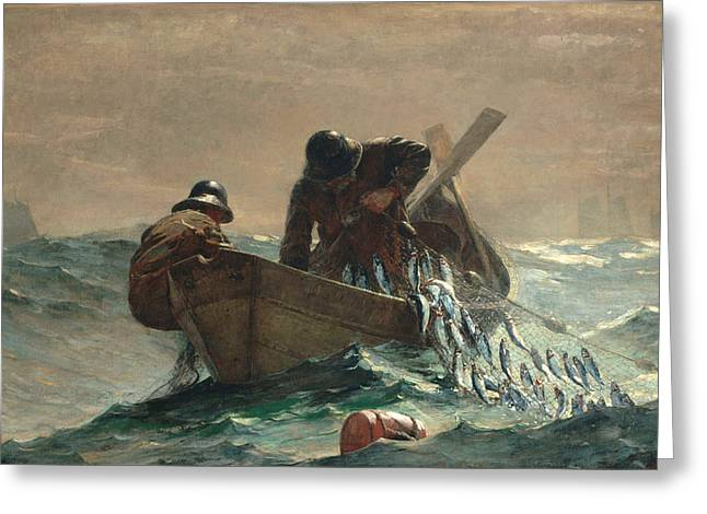 Breezy Greeting Cards - The Herring Net Greeting Card by Winslow Homer