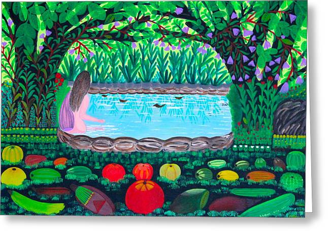 Filipino Artists Greeting Cards - The Hidden Water Greeting Card by Lorna Maza
