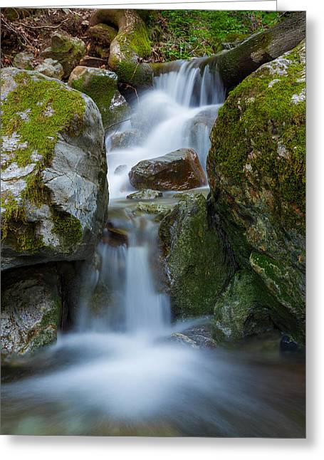 Smokey Greeting Cards - The Hidden Waterfall Greeting Card by Sarit Sotangkur