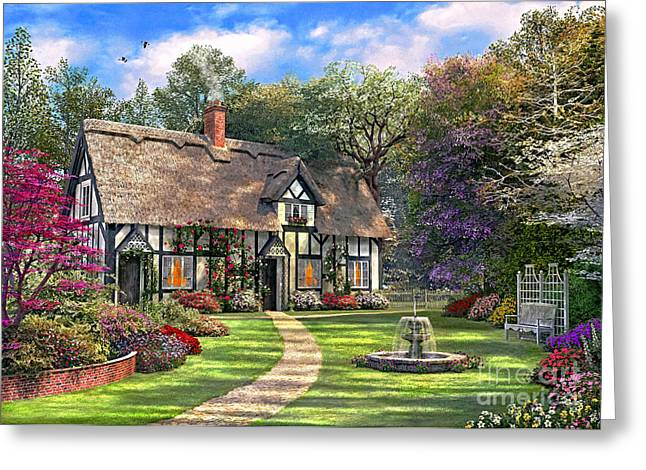 Country Cottage Digital Art Greeting Cards - The Hideaway Cottage Greeting Card by Dominic Davison