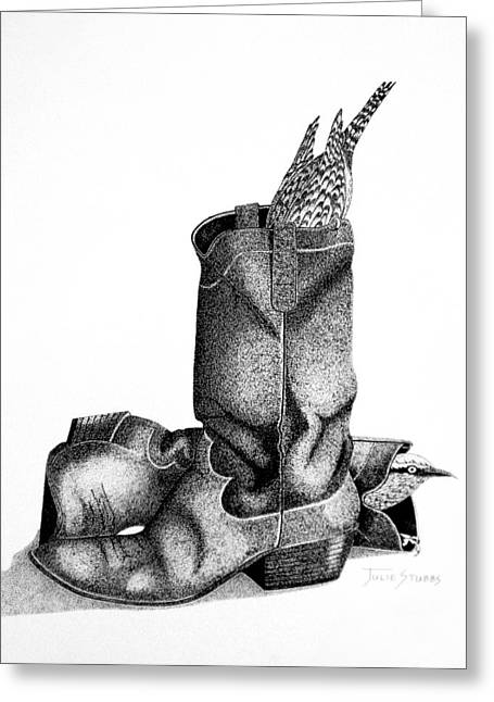 Black Boots Drawings Greeting Cards - The Hideout Greeting Card by Julie Stubbs