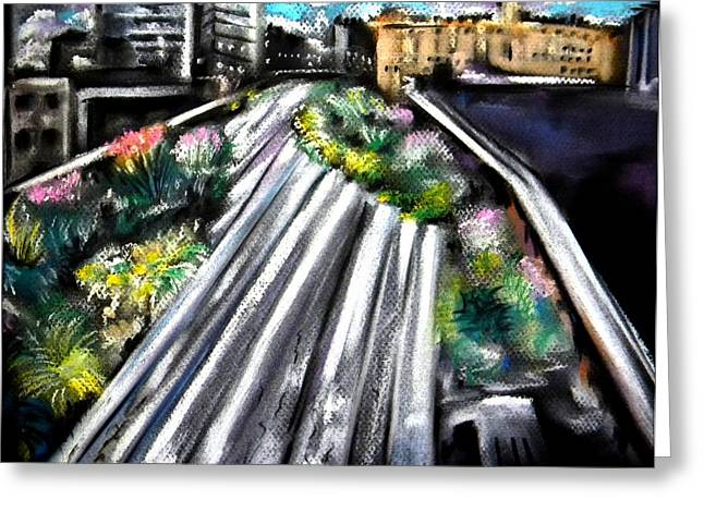 Times Square Pastels Greeting Cards - The High Line Greeting Card by Sandy Ryan