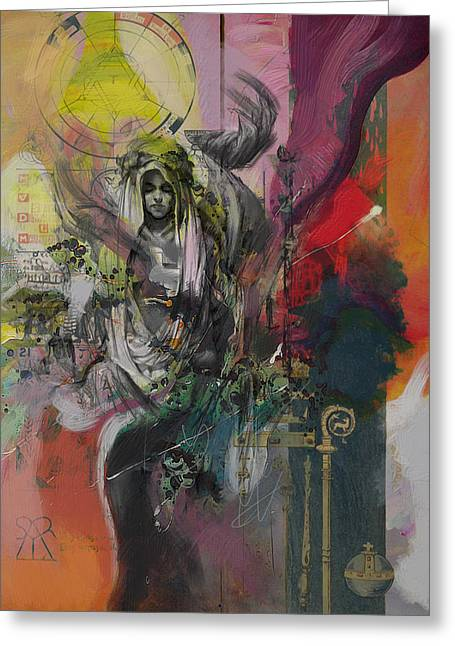 Swiss Paintings Greeting Cards - The High Priestess Greeting Card by Corporate Art Task Force