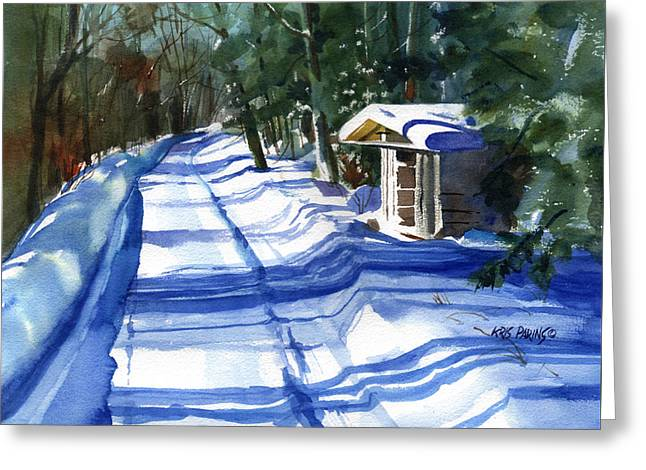 Snowstorm Greeting Cards - The High Road Greeting Card by Kris Parins