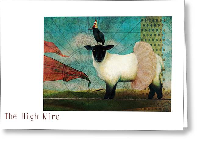 Tutu Mixed Media Greeting Cards - The High Wire Greeting Card by Katherine DuBose Fuerst