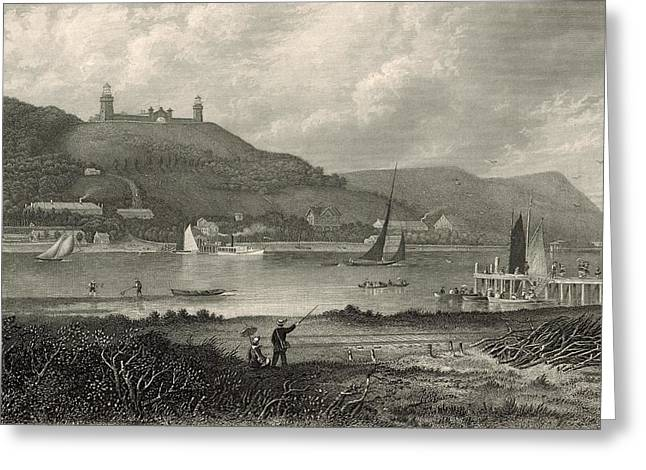 Atlantic Beaches Drawings Greeting Cards - The Highlands of the Neversink 1872 Engraving Greeting Card by Antique Engravings