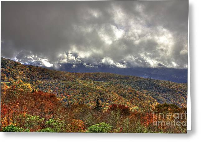 White Knob Mountains Greeting Cards - The Highway Thru The Clouds Blue Ridge Parkway Greeting Card by Reid Callaway