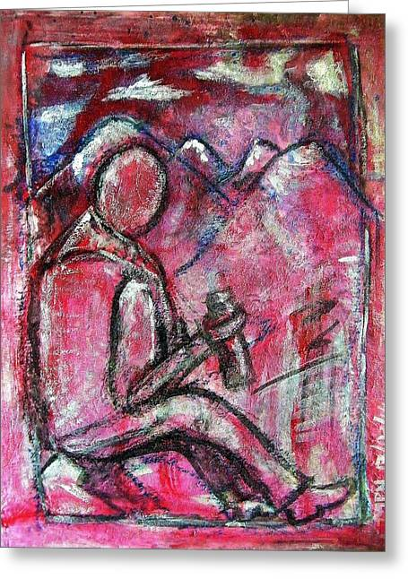 Inner Harmony Greeting Cards - the Hiker Greeting Card by Mimulux patricia no