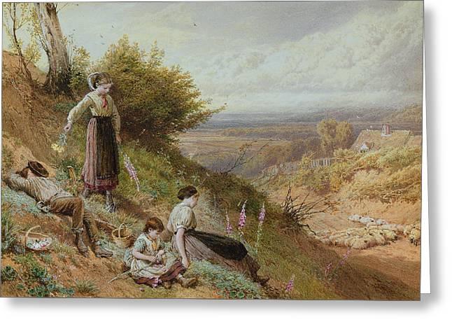 The Hillside Gatherine Foxgloves Greeting Card by Myles Birket Foster