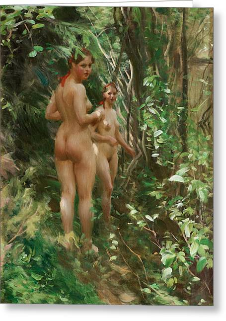 Hind Greeting Cards - The Hinds Greeting Card by Anders Zorn