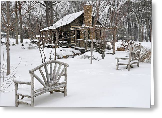 Recently Sold -  - Log Cabins Greeting Cards - The Historic Gosnell Log Cabin After A Snowfall  Mauldin SC Greeting Card by Willie Harper