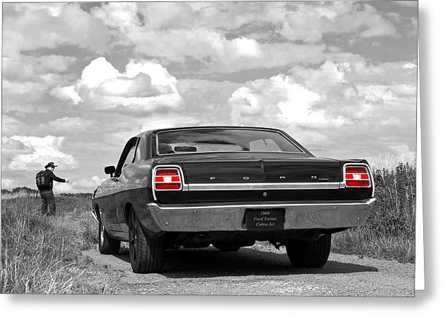 Old Country Roads Greeting Cards - The Hitchhiker - Ford Torino Cobra Jet Greeting Card by Gill Billington