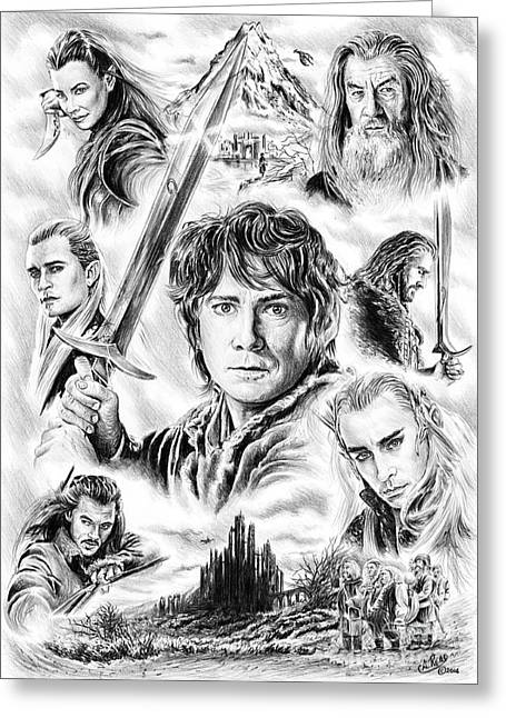 Movie Drawings Greeting Cards - The Hobbit middle earth Greeting Card by Andrew Read