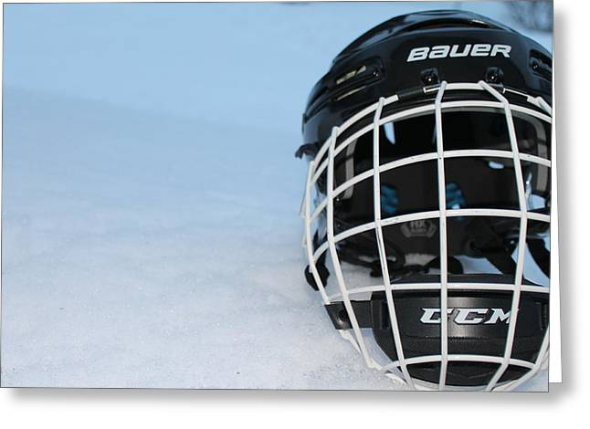 Puck Handling Greeting Cards - The hockey helmet Greeting Card by Danielle Allard